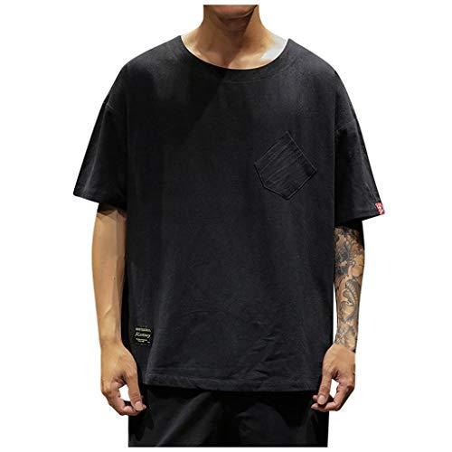 Uqiangy Men's Casual Cotton Linen Solid Pocket Loose Fit Crewneck Short Sleeve T-Shirt ()
