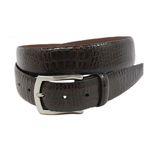 Torino Alligator Embossed Glazed Calfskin Belt in Brown (38, Brown) - Glazed Alligator Belt