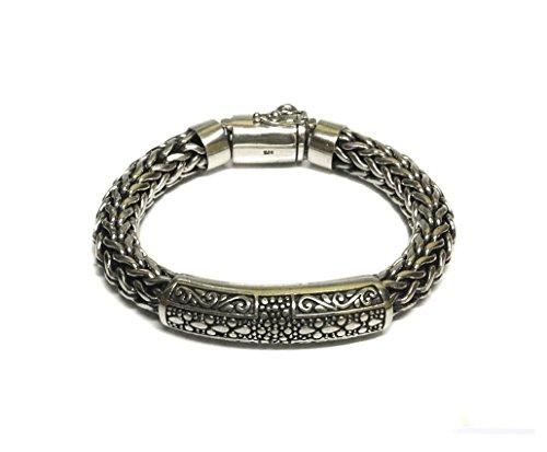 Bali Weave Bracelet - Sterling Silver Chain Bracelet, Heavy Duty Solid Sterling Silver Bracelet
