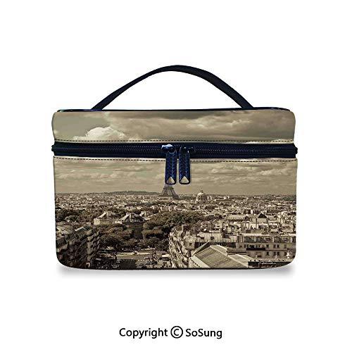 Paris Decor Makeup Bags Printing City Skyline of Paris with Eiffel and Dark Cloudy Weather Capital France Historical Retro PhotoToiletries Organizer Bag,9.8x7.1x5.9inch,Beige