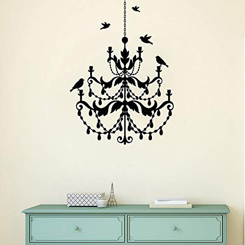 Poesr Removable Vinyl Wall Stickers Act Mural Decal Art Home Decor Chandelier Lamp Birds Flying Around Modern Design Chandelier Home Bedroom Decor