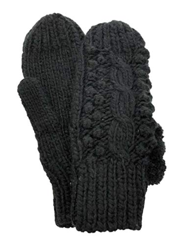 Lumpy Black Knit Pom Pom Winter Mittens