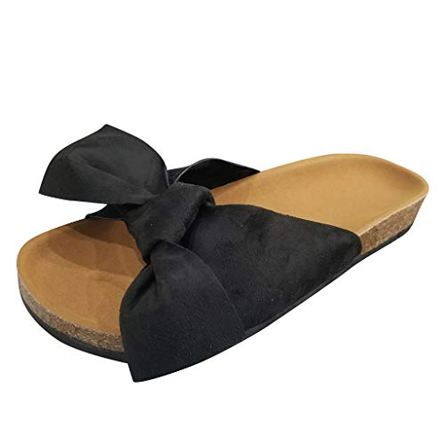 Original Doll Maker - Women's Slide Sandals, Knot Bow Cork Sole, Flat Casual Cork Slide Sandals, Slide Cork Footbed Sandals Black