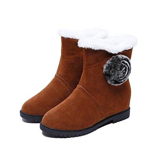 Casual ZHZNVX de Gris Botas del Calf Pluma Invierno Mid Zapatos HSXZ UK6 Botas Café CN39 Mujer Negro para Negro US8 Botas Goma UE39 Cuero Nieve de DE Imitación Cuero Nubuck qEq1rAnwB6