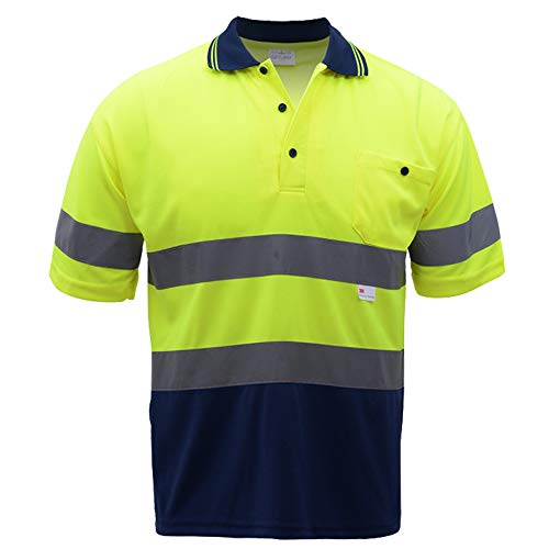 Hivizi Two Tone Safety Short Sleeve Polo Shirt with 3M Reflective Tape for Men,Hi Vis Shirts Construction Work Wear (XXL, Yellow Navy) (Hi Vis Polo Shirts With Reflective Tape)