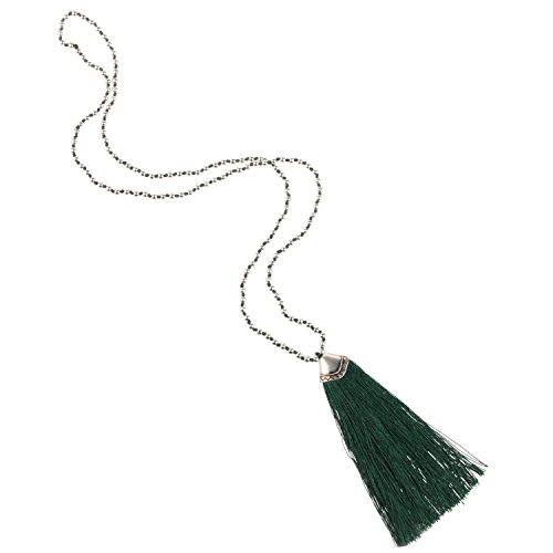 (KELITCH Silver-Plated Beaded Chain Long Necklace with Tassel Pendant - Dark Green)