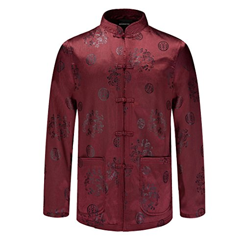 MOSONNYTEE Tang suit Chinese style cotton jacket (XX-Large, Red/thin) by mosonnytee