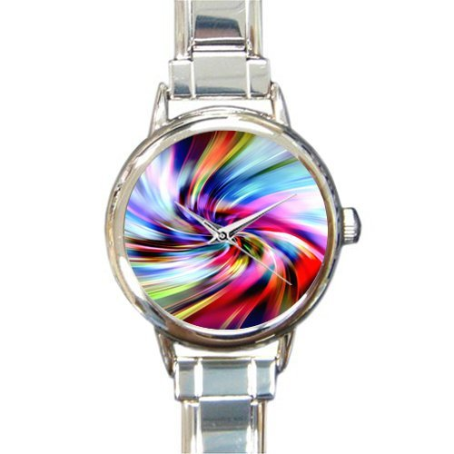Personalized Christmas Gift Watch Tie Dye Pattern Round Italian Charm stainless steel Watch