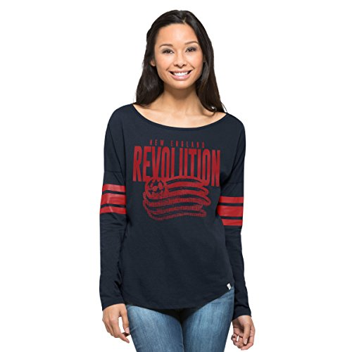 fan products of MLS New England Revolution Women's '47 Courtside Long Sleeve Tee, X-Large, Fall Navy