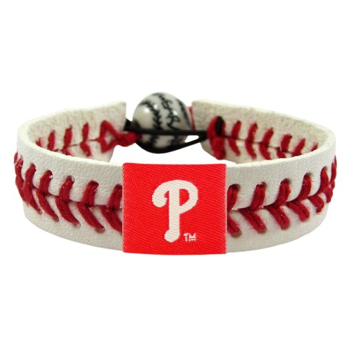 Baseball Leather Philadelphia Phillies (Aminco MLB Philadelphia Phillies Classic Gamewear Leather Baseball Bracelet)