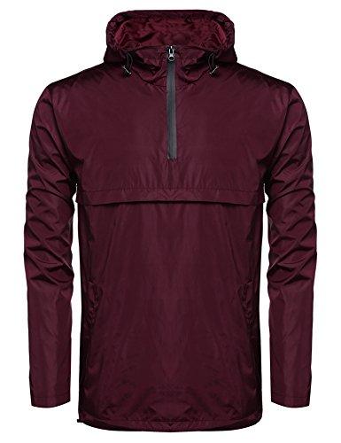 JINIDU Men's Hood Windbreaker Pullover Front Zip Waterproof Rain Jacket Shell Half Zip Mens Pullover