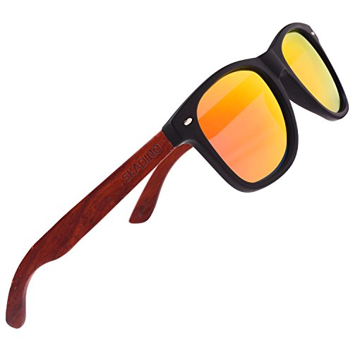 SKADINO Handmade Rose Wood Sunglasses with Red Mirror Polarized Lenses for Men or Women in a - Rose Red Sunglasses