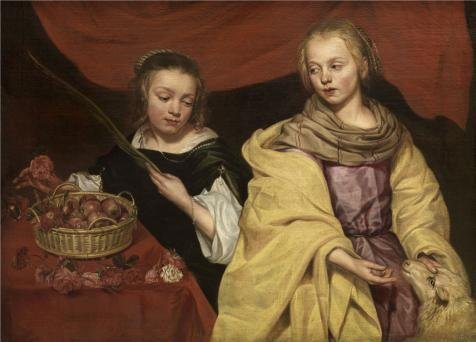Brazil Traditional Costume For Kids (The High Quality Polyster Canvas Of Oil Painting 'Michaelina Woutiers,Two Girls As Saints Agnes And Dorothea,ca.1620-1682' ,size: 10x14 Inch / 25x35 Cm ,this High Quality Art Decorative Canvas Prints Is Fit For Dining Room Artwork And Home Decoration And Gifts)