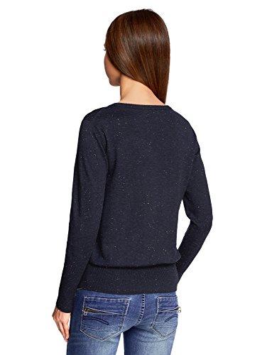 oodji Ultra Mujer Jersey con Cuello Redondo y Decoración de Pedrería Azul (7900M)