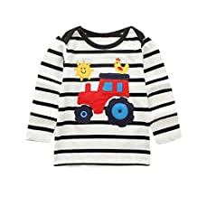 Toddler Kids Baby Girls Boys Soft Cotton Cartoon Animal Tops, Long Sleeve Crewneck Pullover Striped Tee Shirt 1-6T