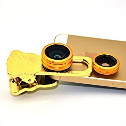 Apexel Universal Sliding Clamp 4-in-1 Fish Eye, Wide Angle & Macro Lens , 10X Telescope Lens for iPhone Samsung HTC Sony Phones & Tablets- Golden