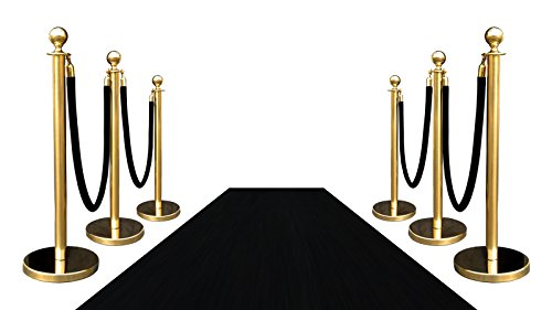 VIP BLACK CARPET COMBO SPECIAL (PKG INC 6-GOLD + 4-ROPES + 1-3'X10' BLACK CARPET)