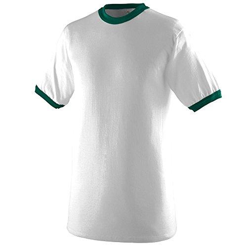 (Augusta Sportswear Boys' Ringer T-Shirt L White/Dark Green)