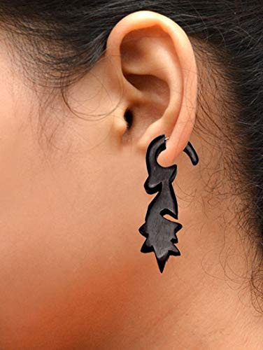 (Krishna Mart India A Pair of Tribal Organic Wooden Earrings Boho Hippie Wood Faux Plugs Tapers Aisew_136)
