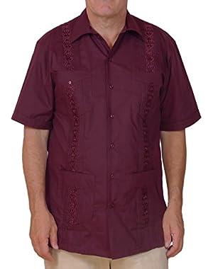 Cuban Style Guayabera Shirt / Burgundy Red