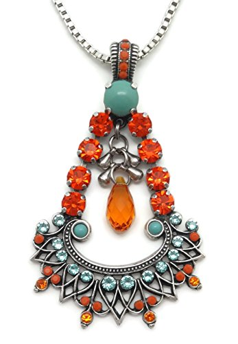 Mariana Swarovski Crystal Silver Plated Pendant Necklace Orange Aqua Mix Chandelier 1079 Serengetti by Mariana