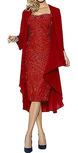 (EileenDor Women's Sheath Short Lace Party Dress Knee Length Mother of Bride Dress with Chiffon Jacket Red)