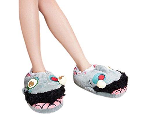 DELEY Caliente de Dibujos Animados Animales Zombie Zapatillas de Felpa Adorable Creativo Cosplay Zapatos de Inicio de Regalo de Navidad VRjDCq