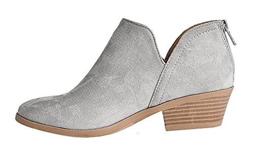 MVE Schuhe Cute Western Cowboy Bootie - Damen Spitzschuh Slip On Ankle Boot - Zurück Reißverschluss Low Heel Graue Su