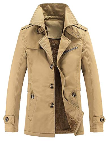 WSPLYSPJY Men Lightweight Trench Coat Notch Lapel Single Breasted Cotton Overcoat 1 XXXL