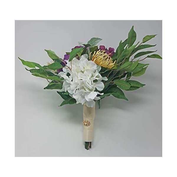 Wedding Bouquet Cottage French Mixed Flowers in Plum and White