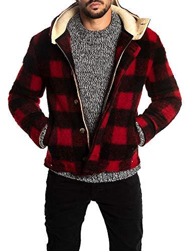 Taoliyuan Mens Plaid Sherpa Lined Pea Coat Winter Warm Hoodie Wool Blend Single Breasted Duffle Jacket -