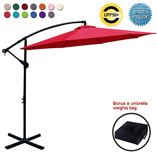 ABCCANOPY Patio Umbrellas Cantilever Umbrella Offset Hanging Umbrellas 10 FT Outdoor Market Umbrella with Crank & Cross Base for Garden, Deck, Backyard, Pool and Beach, 12+ Colors (Vermilion)