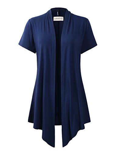 (LARACE Women Cardigan Open Front Lighiweight Short Sleeve Drape Cardigans(3X, Navy Blue))