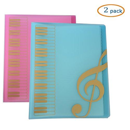- WOGOD Music Sheet File Paper Documents Storage Folder Holder Plastic.A4 Size,40 Pockets (1 Blue+1 Pink)