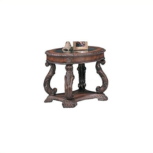 Garroway Oval End Table with Glass Inlay Top Brown