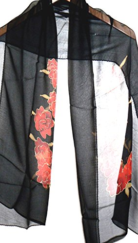 (Jingjingart Handmade Oblong 100% Silk Scarf Hand Painted)