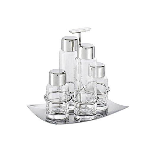 Cruet Set 4 Pcs - Crystal Linea Q - Silverplated