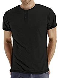 Men's Classic Comfort Soft Regular Fit Long Sleeve Henley T-Shirt Tee