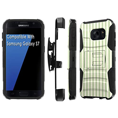 (Samsung Galaxy S7 / GS7 Deluxe Phone Case by [TalkingCase], Black/Black Premium Dual Layer Armor Case, w/Holster & Kickstand Phone Case for Samsung Galaxy S7 [Vertical Lines] Design in USA)