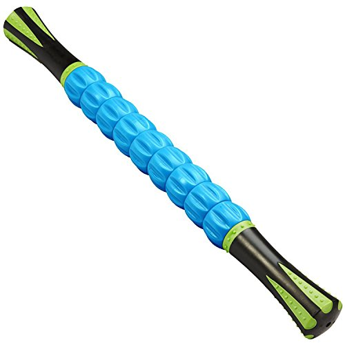 Reehut Trigger Point Muscle Roller Stick - 18 Inches Massager for Relief Pain, Sore, Cramping, Massage, Physical Therapy & Body Recovery (Blue)
