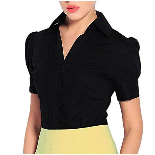 65cb56593e9f3e Soojun Women Short Sleeve Button Down Career Shirt Bodysuit Blouse new