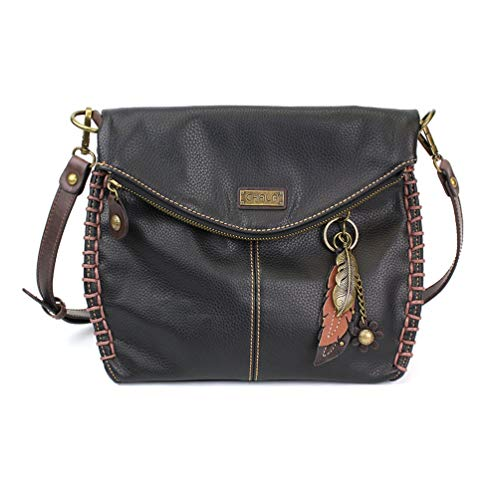 Chala Charming Crossbody Bag with Zipper Flap Top and Metal Chain - Black (Feather)