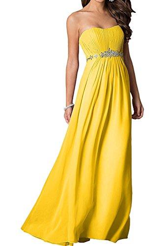 Gelb Dunkel mit Abendkleider Lila Brautjungfernkleider Damen A La mia Chiffon Lang Steine Linie Braut Mode Partykleider Ballkleider AxawZP