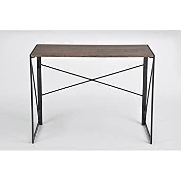 Vintage Dark Brown Black Metal Frame Computer Laptop Writing Study Desk Modern Home Office with Easy Fold