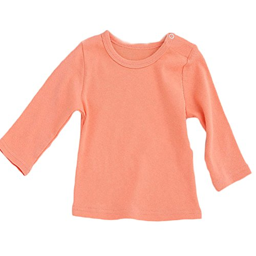 Unisex Baby Shirt Cotton Long Sleeve Tee Infant Tops Orange 7-12 Months