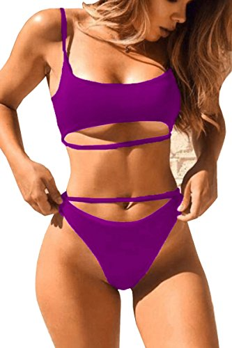 ESONLAR Ladies Sexy Push Up Pad Swimsuit Cut Out Two Piece Bathing Suits Purple M