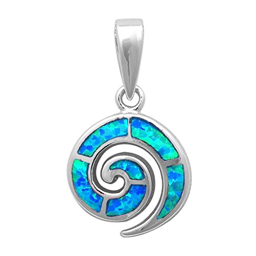 (Swirl Spiral Pendant Created Blue Opal Solid 925 Sterling Silver)