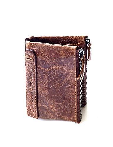 Lareinea Men Genuine Leather Cowhide Zip Wallet Vintage Bifold with Double Zipper Pockets (Brown) by Lareinae (Image #2)