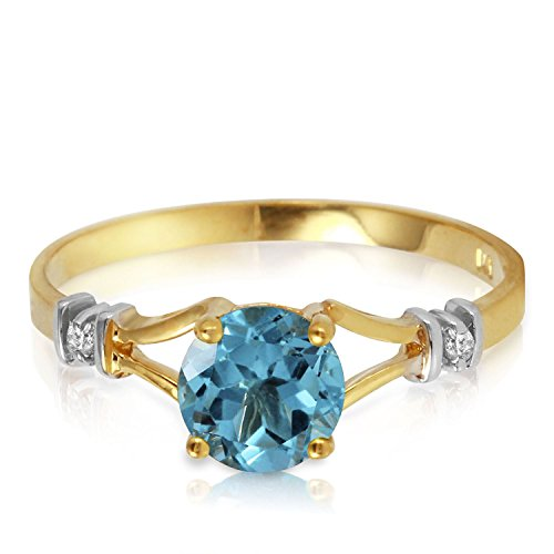 ALARRI 1.02 CTW 14K Solid Gold Love's Ingredient Blue Topaz Diamond Ring With Ring Size 11 by ALARRI