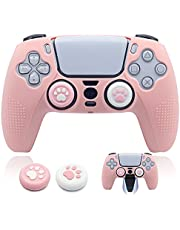 BRHE PS5 Controller Skin Dockable Kawaii Accessories Silicone Grip Cover Case Set for Playstation 5 Gamepad Joystick with 2 Cute Cat Claw Thumb Caps (Pink)